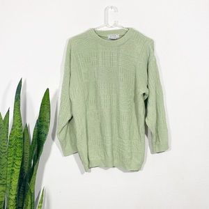 VTG Green Comfy Printed Knit Oversized Sweater